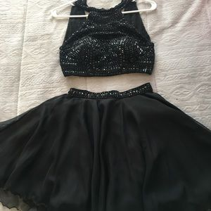Sherri hill formal black two piece dress